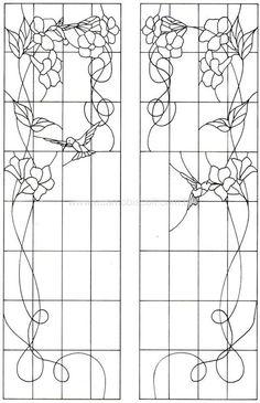 Door or cupboard panels - hummingbirds