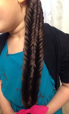 Chain Link Ribbon Fishtail Braid   Fourth Of July Hairstyles      Fused Fishtail Braid