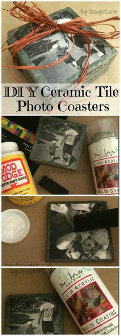 DIY Ceramic Tile Photo Coasters make a lovely homemade gift! A creative Christmas gift for friends, family & especially grandparents. TrishSutton.com