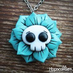 Skull+Flower+Rose+Necklace+by+rapscalliondesign+on+Etsy,+$18.48