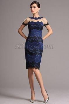 Vestido de Cóctel Corto De Moda Azul y Negro en Encaje(26161805)