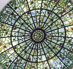 ArtGlassByWells | Custom leaded glass dome with floral design is 14' in diameter and installed in Houston, Texas.