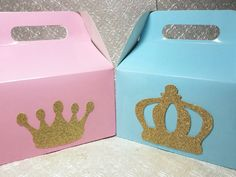Royal Princess Prince Crown tiara Pink gold Party favor gable goodie boxes birthday baby shower gender reveal wedding party thank you gift quinceanera graduation sweet sixteen wedding bridal groom bachelorette bachelor reunion retirement anniversary he or she boy or girl it's a girl it's a boy fairy tale smash cake one 1st first birthday Disney princess party decor bridesmaids pink or blue sweet sixteen glow party