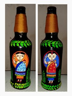 Bottle Cap Projects, Glass Bottle Crafts, Wine Bottle Art, Diy Bottle, Glass Bottles, Whiskey Bottle, Paint Keys, Madhubani Art, Bottle Painting