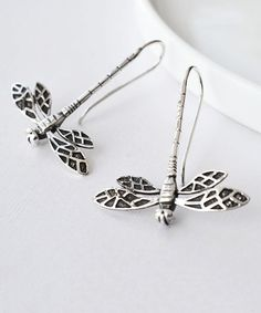 Look at this #zulilyfind! Sterling Silver Dragonfly Drop Earrings #zulilyfinds