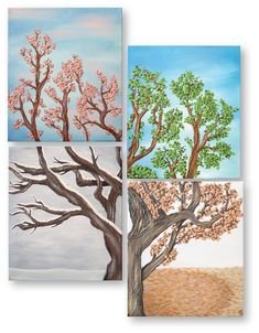 Four Seasons Tree Wall Art Painting Set Four by ArtistAndDesigner