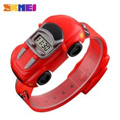Fashion Creative Children Watch SKMEI Brand Cartoon Car Digital Kids Watches For Boys Girls Dress Wristwatches
