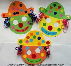 Cut out masks for hospital clowning to leave with children Masques clowns pour le carnaval Clown Crafts, Circus Crafts, Carnival Crafts Kids, Preschool Crafts, Diy And Crafts, Crafts For Kids, Arts And Crafts, Kindergarten Crafts, Mardi Gras