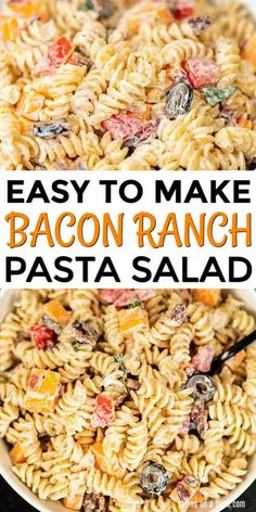 No need to buy the store bought mixes when it is so easy to make this bacon ranch pasta salad recipe. This is delicious with tons of ranch, bacon and more. Chicken Bacon Ranch Pasta, Easy Pasta Salad Recipe, Macaroni Salads, Simple Baked Beans Recipe, Summer Salad Recipes, Summer Salads, Savarin, How To Cook Pasta, Salads