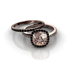This ring is made in 14K Rose Gold. Center stone is genuine Smoky Quartz  cushion shape with checker board cut, 1.80ct. (8.1 x 8.1mm) There is a  delicate Black Diamonds halo surrounding the Quartz and small Champagne  Diamonds coming quarter way down the shank. Diamonds are 0.20ct. Shank  width is about 1.4mm. You can add a simple pave band which is sold  separately.