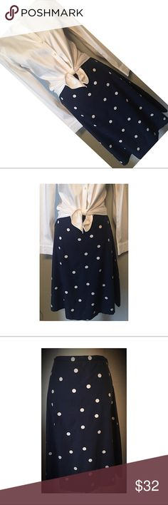 J. Crew Skirt Super cute navy and polka dot skirt. It is a size 0, but runs big. In great condition, worn once. J. Crew Skirts A-Line or Full