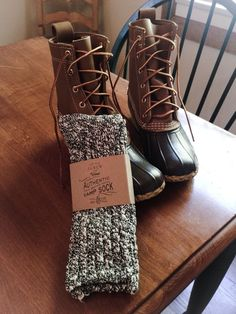Love these j. Crew socks, but should get a look a like pair somewhere that is actually wool. J.Crew Camp Socks and Bean Boots