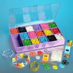 Loom Rainbow Rubber Band Complete Collection Organizer Storage Kit - Includes 4000 Rainbow Rubber Bands, 120 S Clips and 4 Digital Watches All In a Convenient Storage Organizer Case