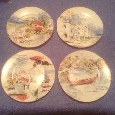 PIER 1 Destination Appetizer/Dessert Plates set of 4  #PIER1