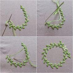 Corona de hojas muy sencilla con cadeneta