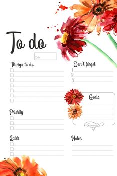 Planner, to do list, gerbera, watercolor Daily Planner Pages, Weekly Planner Printable, Planner Template, Print Calendar, Planner Layout, Bullet Journal Ideas Pages, Planner Organization, Planners, Printables