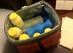 Traveling with pumped milk - extremely helpful tips & tricks about traveling with pumped milk.  Really liked the idea of the Nalgene sports bottle to hold extra milk beyond regular feeding bottles.