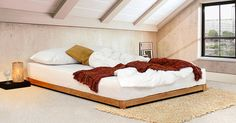 The low loft bed is our lowest bed frame in our wooden bed range. Ideal for tight spaces with low ceilings such as lofts and attics where a bed frame of this nature is what will fit. However, not just for that use only, the Low Loft Bed is likewise suited to those looking for an oriental