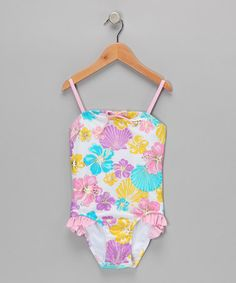 Take a look at this White & Pink Pastel One-Piece by Beach Native on #zulily today!