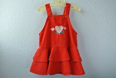 Vintage Toddler Clothes  Red Corduroy Dress with by NellsNiche, $18.00