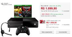 Console Xbox One 500GB  2 Jogos  Headset  Controle Sem Fio  Cabo HDMI << R$ 153892 >>