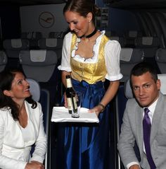 During the days of this year's Oktoberfest beer festival October) Lufthansa's cabin crew will sport traditional Bavarian costumes on flights… Berlin Travel, Oktoberfest Beer, Beer Festival, Cabin Crew, Lace Skirt, Costumes, Traditional, Celebrities, Dresses