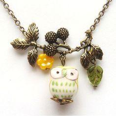 Antiqued Brass Branch Flower  Porcelain Owl Necklace.