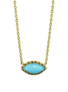 Lori McLean Jewelry - Turquoise Marquee Necklace      Handcrafted in 14-karat yellow gold.  Detailed in turquoise.  Pendant measures 5/16-in. across.  Necklace adjusts 16-in. to 18-in. long with lobster clasp.