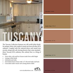 If you are having difficulty making a decision about a home decorating theme, tuscan style is a great home decorating idea. Many homeowners are attracted to the tuscan style because it combines sub… Kitchen Paint, Living Room Kitchen, Kitchen Designs, Living Rooms, Color Palette For Home, Style Toscan, Sherwin Williams Color Palette, Tuscan Colors, Tuscany Decor