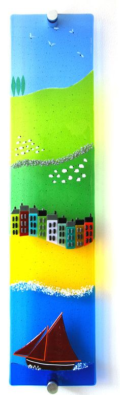 John Conneely's Sheep and the Great Divide - fused glass wall panel on Etsy, $243.46
