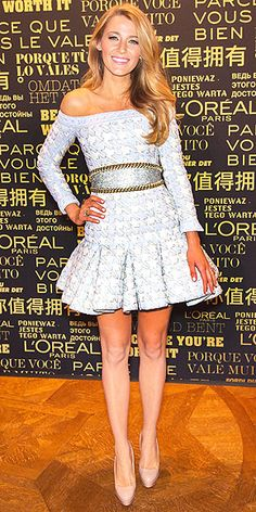 a blue-and-white off-the-shoulder Balmain mini with a flouncy pleated skirt and gold chain-link trim (oct 2013)