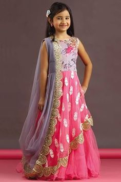 DrPicture of Pink & grey color saree style gown Kids Dress Wear, Kids Gown, Party Wear Dresses, Baby Dress, Gowns For Girls, Dresses Kids Girl, Kids Outfits, Kids Blouse Designs, Kids Party Wear