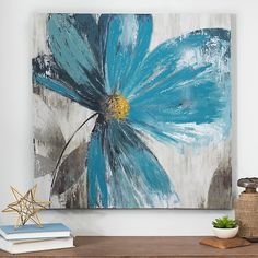 Our Blue Florals II Canvas Art Print is all about the color! With blue hues and a stunning abstract design, these blossoms fill your walls with charm Abstract Canvas Wall Art, Acrylic Art, Canvas Art Prints, Painting Prints, Watercolor Paintings, Blue Canvas Art, Arte Fashion, Flower Canvas, Flower Wall