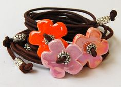 armband bloem oranje | Armbanden bloem/hartje | Chic Le Freak