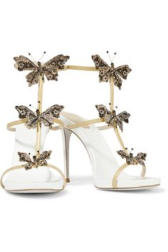 René Caovilla crystal and bead-embellished metallic snake and leather sandals