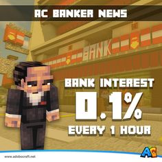 [ AC BANK UPDATE] : Interest rate has been updated to 0.1% Every 1 Hour.  #AdoboCraft www.adobocraft.net