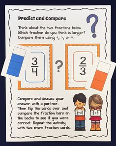 Free Fraction Predict and Compare activity! Great for fostering critical thinking about fractions! Students work with a partner to predict which fraction is larger, they discuss their predictions, and then they use the fraction bar on the back to check. Common Core Aligned for 3rd and 4th grades
