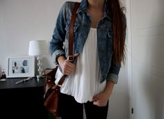 denim jacket, white pleated style tank, leggings