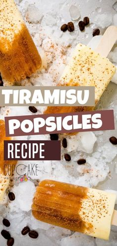 Quench your summer Tiramisu cravings with this Tiramisu Popsicle! It has two distinct sections, the icy and sweet coffee layer spiked with a splash of rum and the creamy mascarpone layer with the consistency of frozen cheesecake. Save this pin for later! Bite Size Desserts, Fancy Desserts, Great Desserts, Best Dessert Recipes, Frozen Desserts, Cupcake Recipes, Frozen Treats, Baking Recipes, Fun Recipes