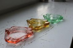 Vintage Danish Modern Glass Stop Light Ashtray Set by LovedByTime | whats been spotted on etsy today? | Scoop.it