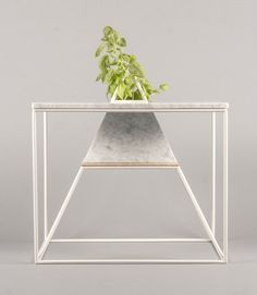 marble and metal plant stand