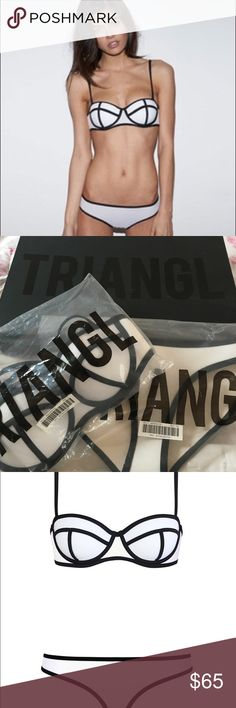 Original black and white triangl bikini Comes with box. Top is small. Bottom is extra small. Triangle Swim Bikinis