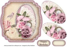 Shabby Chic Fan and Roses Shaped Card