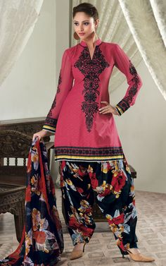 PINK & BLACK COTTON SALWAR KAMEEZ