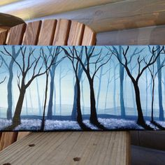 Beautiful Misty Blue Forest - good example of monochromatic painting with overlapping