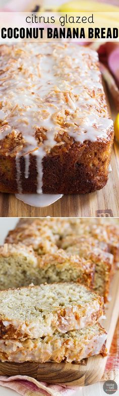Banana bread gets a bit of a tropical makeover with the addition of coconut and a sweet, citrus glaze in this Citrus Glazed Coconut Banana Bread. Lemon juice or lime juice both work well here, use whatever you have on hand.