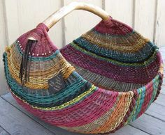 """Montana Blue Heron--beautiful basket. I""""d love to be able to weave a basket like this."""