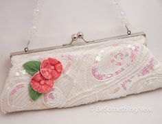 Upcycled ivory Beaded Vintage Purse with pink by BeSomethingNew, $36.00