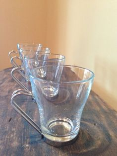 Vintage Italian Coffee Mugs 1970s Vitrosax Clear by StylishPiggy, $26.00