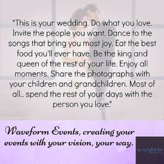 We are privileged and grateful every time you choose us to help make your party dreams come true!  Make memories, give parties. Let us help you throw the party of your life! Contact us online at waveformevents.com! #weddings